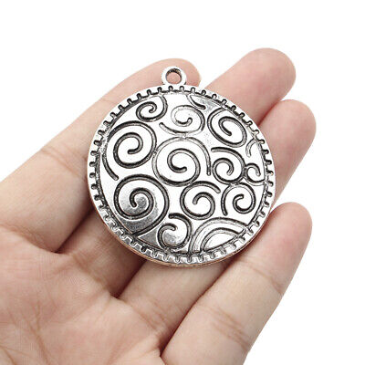 5x Antique Silver Bohemia Carving Spiral Flower Charms Pendants for Necklaces