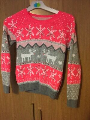 Next Girls Jumper  grey pink silver Christmas age 9-10 years