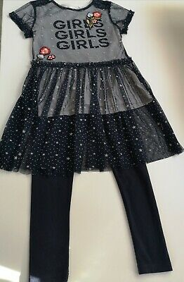 NEXT Girls 3 piece Outfit, T Shirt, Leggings & Overdress - Age 9 years