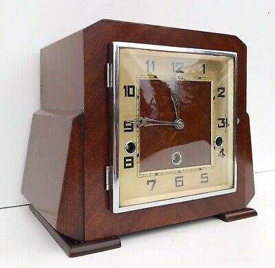 Art Deco Mahogany German Quarter Chiming Mantle Clock