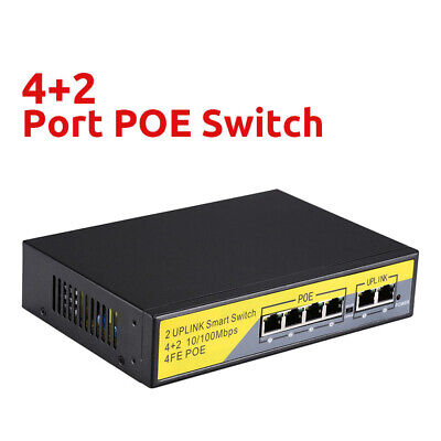 10/100Mbs 2+4 Ports PoE Switch Injector Network Switch Power Adapter CCTV Camera