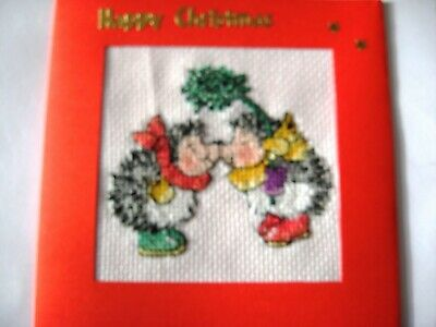 "Christmas Card Completed Cross Stitch Hedgehogs & Mistletoe 5.5""sq"