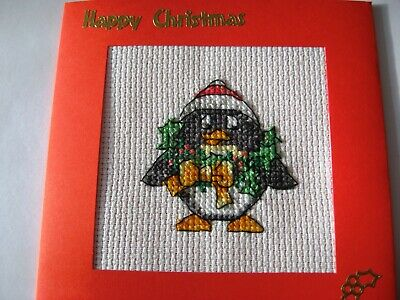 "Christmas Card Completed Cross Stitch Christmas Penguin 5.5""sq"