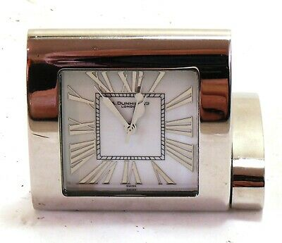 Dunhill stainless steel travel clock PZFM 8510 MINT- #35050