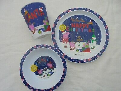Childrens Peppa Pig Christmas bowl/plate/cup