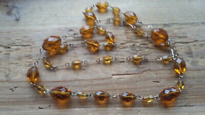 Lovely vintage art deco amber coloured crystal, wire strung, quite long necklace