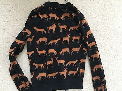 Divided H&M Reindeer Deer Sparkly Christmas Top Size 10