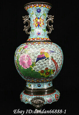 Chinese fengshui old Bronze inlay jewel cloisonne tree peony birds flower vase