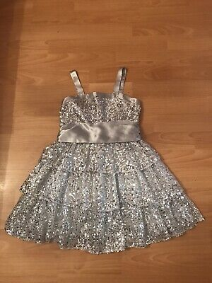 Stunning Julien MacDonald Girls Silver Sequin Tiered  Xmas/Party Dress Age 6 Vgc