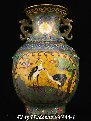 Chinese fengshui old Bronze inlay jewel cloisonne red-crowned crane flower vase