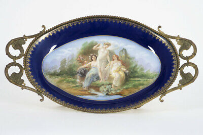 Antique French Centerpiece bowl tray in Sevres porcelain victorian bronze frame
