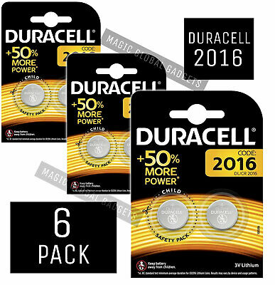 6x Duracell CR2016 3V Coin Cell Battery 2016, DL2016, BR2016, SB-T11 LONG EXPIRY