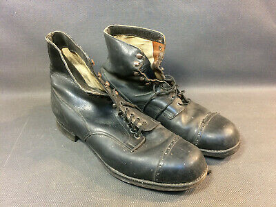 Pair of Shoes Antique Leather Ankle Boots Woman Sole Wood Studded