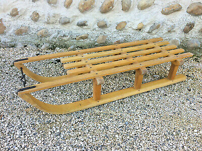Antique Sledge Wooden Vintage Deco Chalet Mountain Savoie
