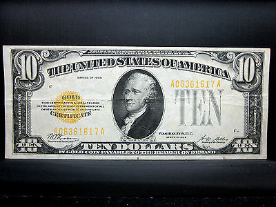 1928 $10 Gold Certificate ✪ Ch-Xf Extra Fine ✪ L@@K Now Yellow Seal B ◢Trusted◣