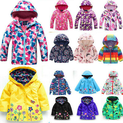 Toddler Girls Kids Boys Hooded Raincoat Coat Jackets Ski Snow Windproof Outwear