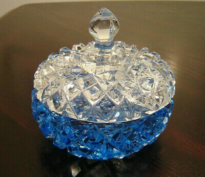 Beautiful vintage Czech powder dresser vanity jar box blue crystal, 1930s, exc.
