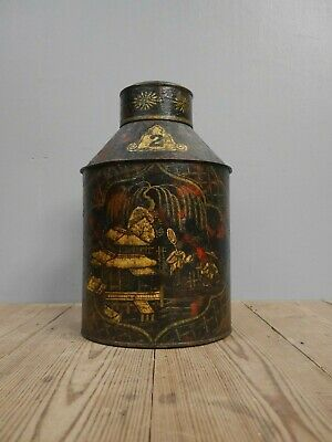 Exceptional 19th Century Chinoiserie Grocers Country House Tole Tea Canister