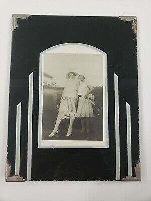 Estate Antique Art Deco Glass Frame With Picture Of Young Women And Car 20s