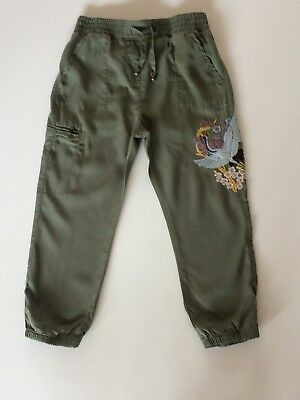 Bnwt Next Girls 12 Yrs Khaki Embroidered Cargo Joggers Trousers Cuffed Hems New