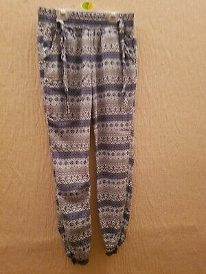 Girls Blue And White Patterned Trousers Age 9/10