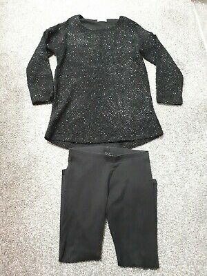 Next Girls Black Sparkly Top And Leggings Outfit Age 9