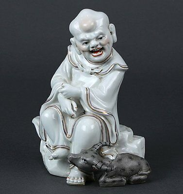 Chinese porcelain statue Laohan(luohan) with oz (cow) marked