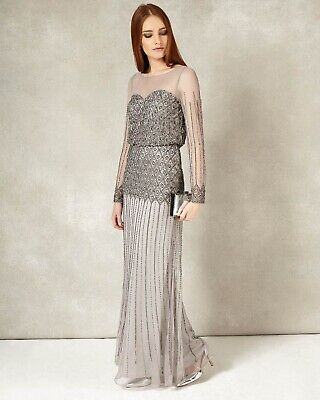 Phase Eight Collection 8 Enya Embellished Maxi Dress Evening Silver Beaded 8 NWT