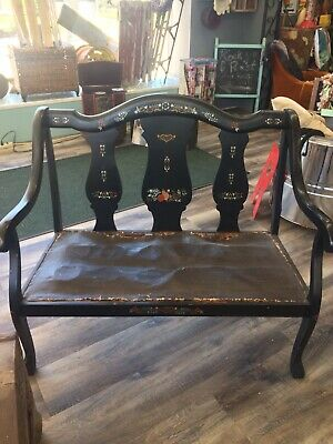 "1800's ""Tole Painted"" Ebony Bench"