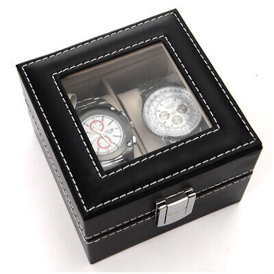 2 Slots Glass Jewelry Case Organizer Storage Faux Leather Watch Display Box