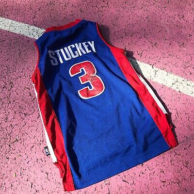 Vintage Kids Blue Red Detroit Pistons Basketball Stuckey Top 6-8 yrs