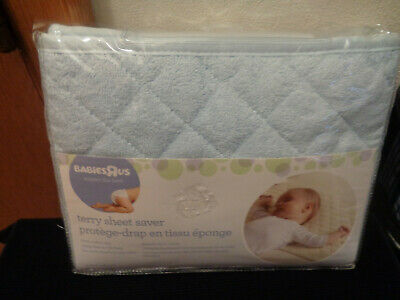 Babies R Us NEW Blue Baby Mattress Terry Sheet Saver Pad with Crib Ties