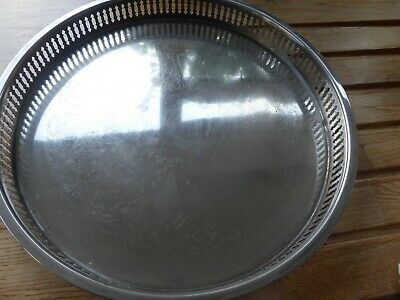 Vintage Hong Kong silver plated serving tray Leonard round good condition
