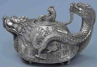 China Collectable Handwork Miao Silver Dragon Totem Auspicious Tibet Tea Pots
