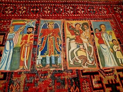 4 Rare  Large Antique Hand Painted and Written Ethiopian Cloth Panels