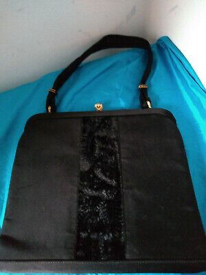 Vintage 1950s Black Satin & Velvet Waldybag Evening Cocktail Bag Noir