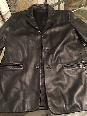 Mens Jeff Banks Small Black Real Leather Coat Jacket Immaculate Vintage Blazer