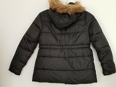 YD Girls paded hooded Black khaki School Jacket Coat Girls 8-9 Years