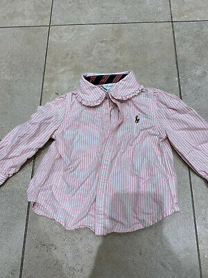 Ralph Lauren Baby Girls Pink Striped Shirt Age 9 Months