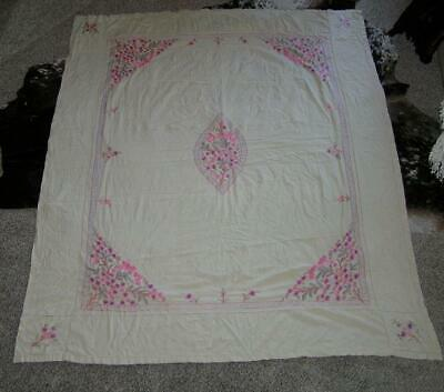 """Heirloom Embroidery Pansies Floral Pink Tablecloth Banquet Art Deco 63"""" x 78"""""""