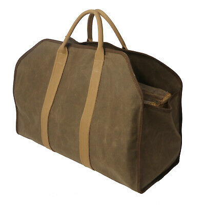 Firewood Log Carrier Tote Fireplace Holder Stove Bag Canvas Portable-TOURBON