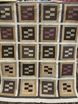 unfinished quilt top Browns And Tans Floral Prints 100% Cotton