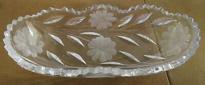 Vintage Brilliant Clear Crystal Glass Boat Dish with Sawtooth edge and Daisies.