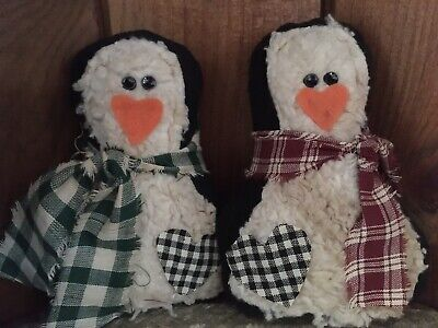 Primitive Penguins Ornies Bowl Fillers Tucks Winter Christmas Prim Set of 2
