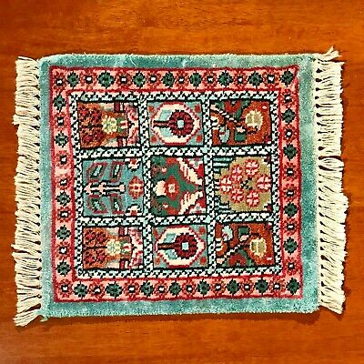 Vintage Small Middle East Afghani Rug - Hand Knotted - Opium Poppies - Pure Wool