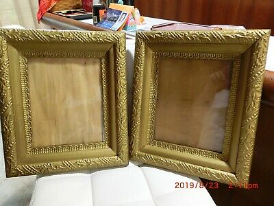 "Vintage gold gesso 2 wooden picture frames holds 8X10 frame 3"" wide corners 3.5"