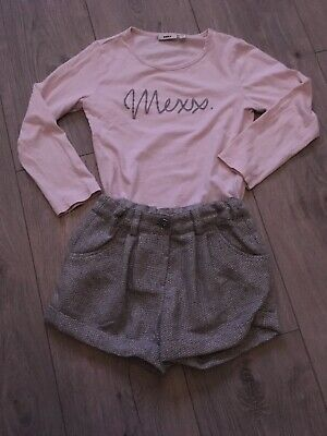 Cute Girls Outfit Age 4-5 Years Mexx Top & Tweed Shorts & Pink