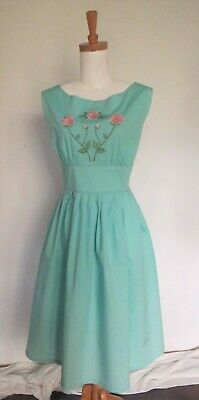DRESS Sleeveless Fit Flare Teal Embroidered detail Cotton Revival Sz 12 Vintage