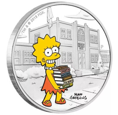 1 oz silver Proof Lisa Simpson Tuvalu .9999 Pure Simpsons Homer Fox Maggie Girl