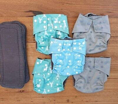 Modern cloth nappies bulk bundle MCN snappies diapers boys neutral OS